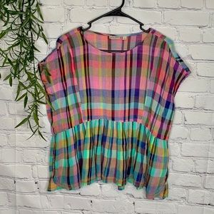 Holding horses Anthropologie mina top small plaid